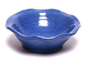 A blue ceramic hand painted frilly bowl