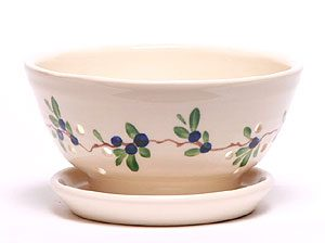 Blueberry pattern ceramic hand painted berry colander
