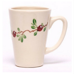 Latte Mug with cranberry hand painted design