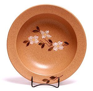 Dogwood pattern hand painted ceramic serving bowl