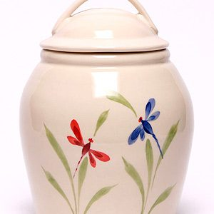 Dragonfly pattern ceramic hand painted cookie jar