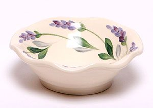 Lavendar pattern hand painted ceramic frilly bowl