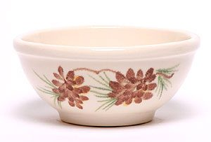 Hand painted ceramic pottery pasta bowl with a pinecone pattern