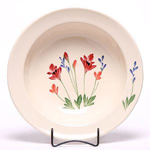 Poppy pattern hand painted ceramic serving bowl