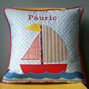 Irish sail boat cushion with personalized name embroidery