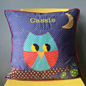 Patchwork Owl Cushion with personalized name embroidery