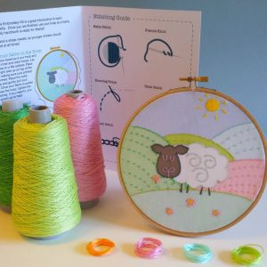 Embroidery kit for kids from Ireland showing an Irish sheep in the fields