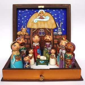 Wooden Christmas Nativity Set with Box Display - Hand painted and hand crafted