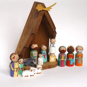Wooden Christmas Nativity Set with Stable